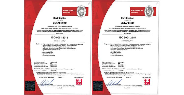 Certificação Betafence